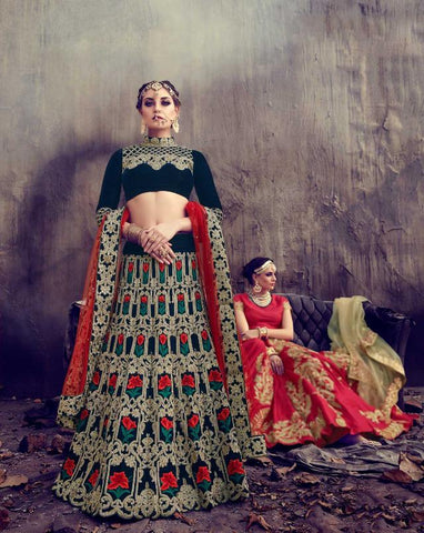 Navy Blue Color Velvet Semi Stitched Lehenga - HL-4776