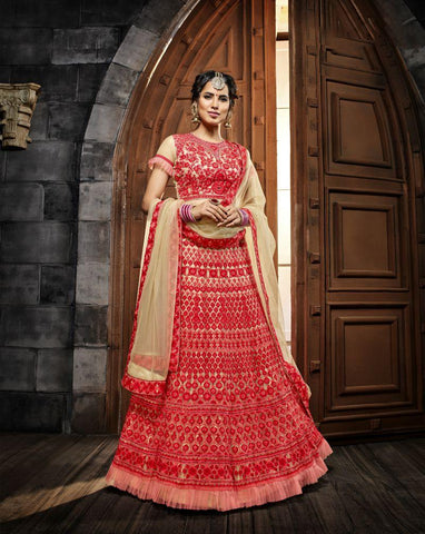 Red Color Indo Silk UnStitched Lehenga - HL-4991B