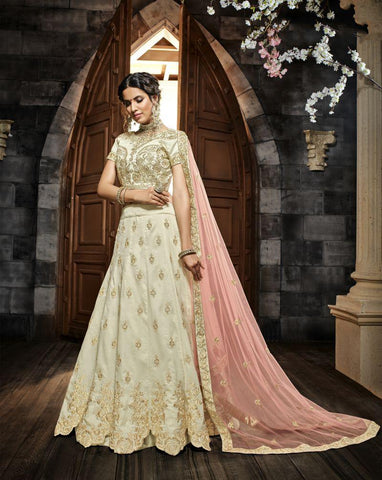 Off White Color Indo Silk UnStitched Lehenga - HL-4992A