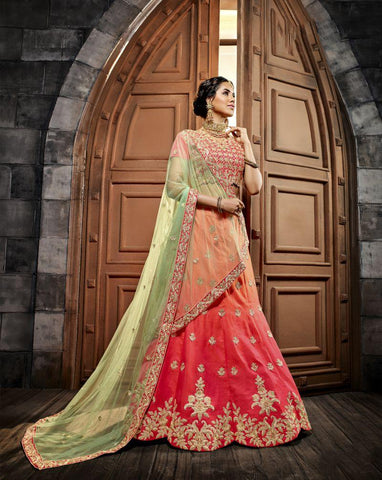 Multi Color Indo Silk UnStitched Lehenga - HL-4993A