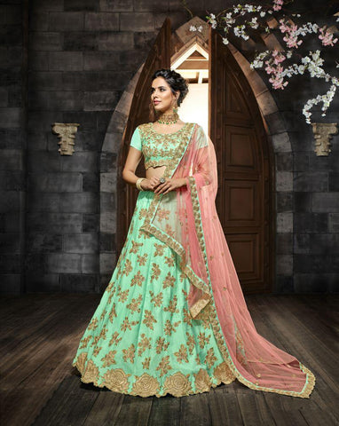 Green Color Indo Silk UnStitched Lehenga - HL-4994A