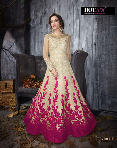 Cream Color Butterfly Net UnStitched Anarkali Gown - HL-7001C