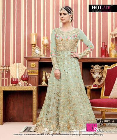 Light Green Color Butterfly Net UnStitched Anarkali Gown - HL-7002A