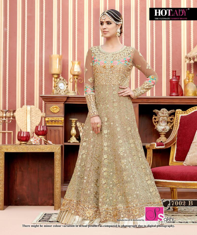 cc90bf3a98 Buy Beige Color Butterfly Net UnStitched Anarkali Gown | Zinnga