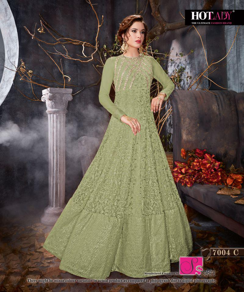 Buy Olive Gren Color Butterfly Net UnStitched Anarkali Gown