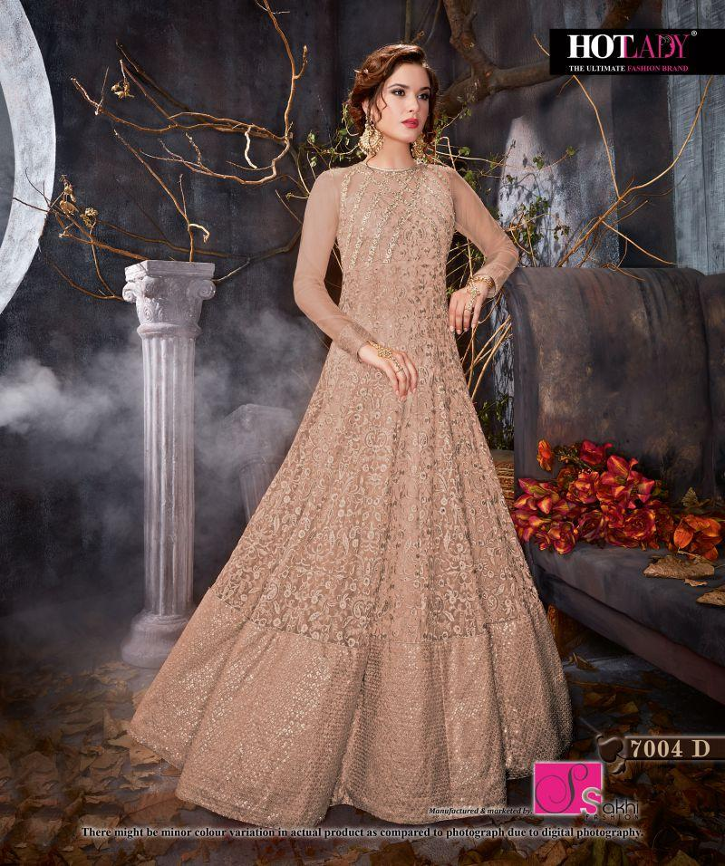 Buy Brick Red Color Butterfly Net UnStitched Anarkali Gown