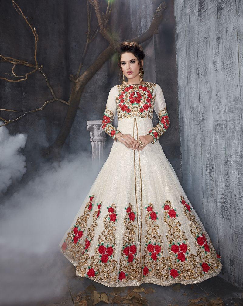 Buy White Color Butterfly Net UnStitched Anarkali Gown