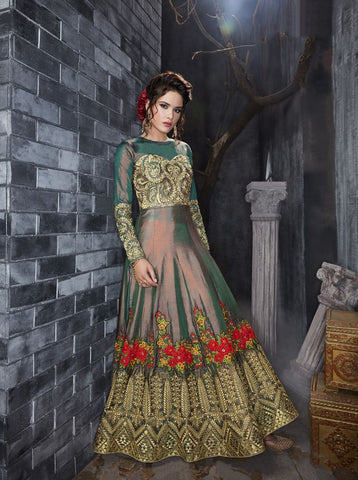 Multi Color Titan Silk UnStitched Anarkali Gown - HL-7012A