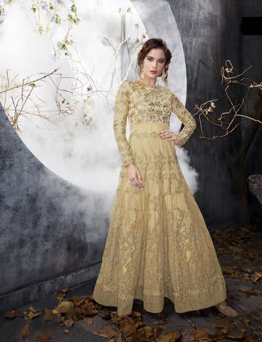 Cream Color Butterfly Net UnStitched Anarkali Gown - HL-7013A