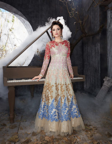 Multi Color Butterfly Net UnStitched Anarkali Gown - HL-7014B