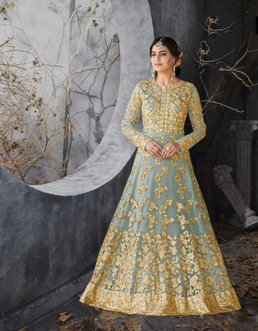 Light Sky Blue Color Butterfly Net UnStitched Anarkali Gown - HL-7016A