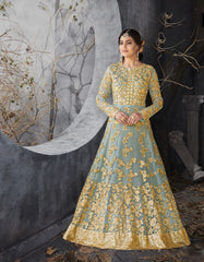 Buy Light Sky Blue Color Butterfly Net UnStitched Anarkali Gown
