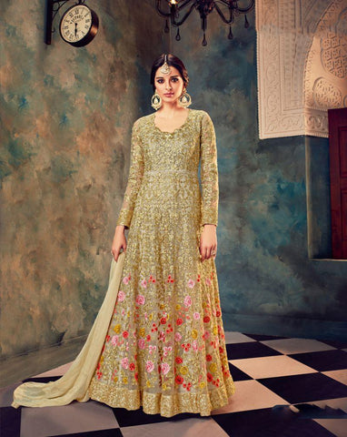 Beige Color Butterfly Net UnStitched Anarkali Gown - HL-7021A
