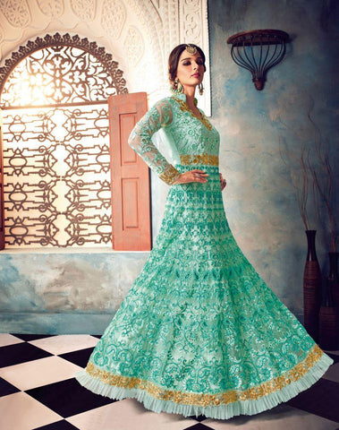 Sky Blue Color Butterfly Net UnStitched Anarkali Gown - HL-7022B