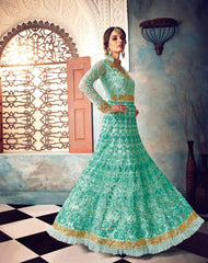 Buy Sky Blue Color Butterfly Net UnStitched Anarkali Gown