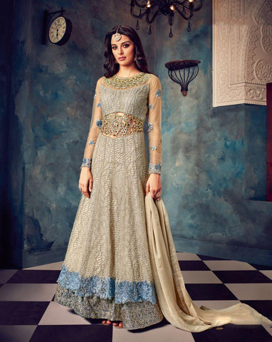 Multi Color Butterfly Net UnStitched Anarkali Gown - HL-7023A