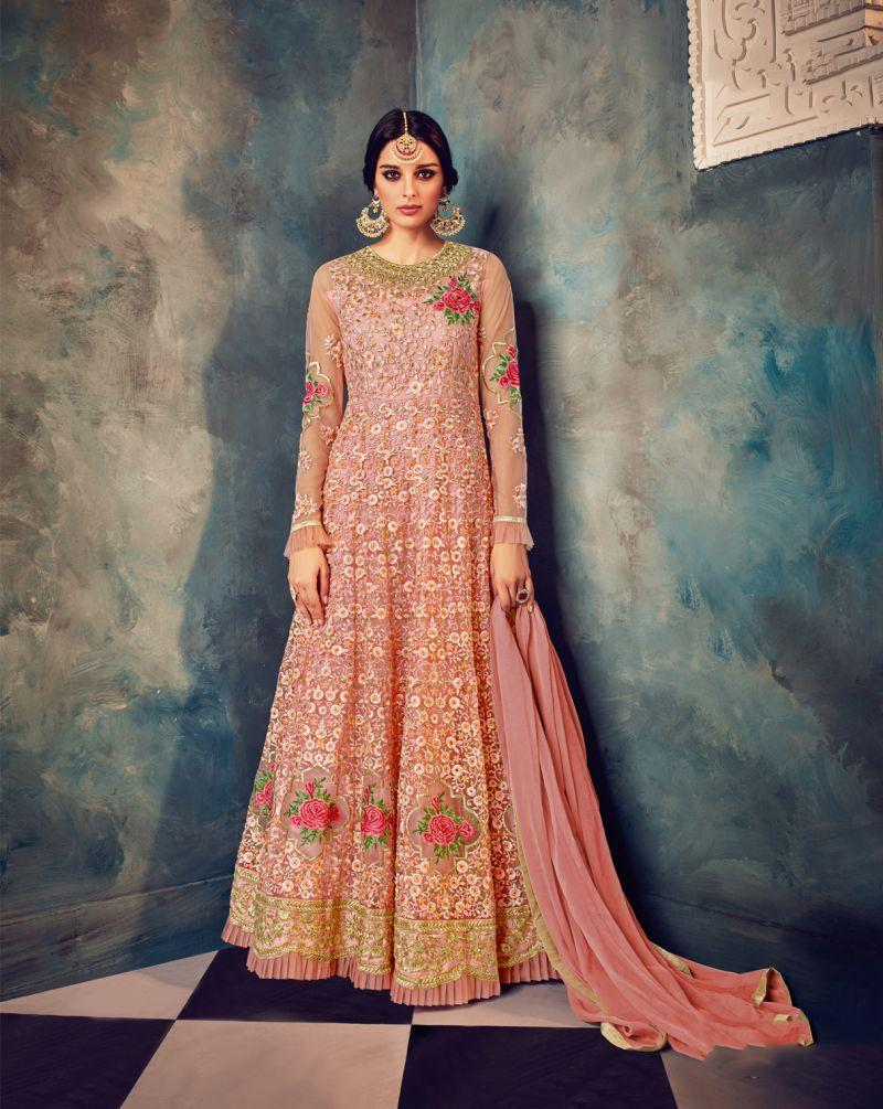 fd90e1c1fb Buy Peach Color Butterfly Net UnStitched Anarkali Gown | Zinnga