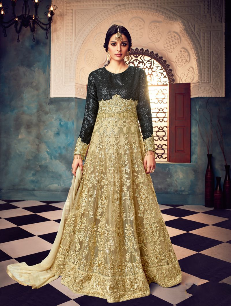 380396f7da Buy Black And Beige Color Butterfly Net UnStitched Anarkali Gown ...