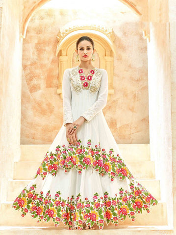 White Color Butterfly Net UnStitched Anarkali Gown - HL-7222B