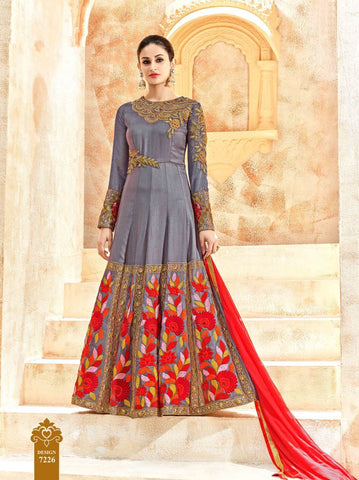 Grey Color Pure Silk UnStitched Anarkali Gown - HL-7226A