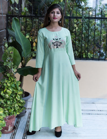 Rich Green Color Rayon Women's Long Flared Stitched Gown - HOA-102
