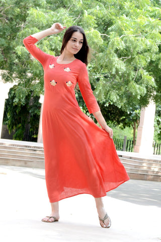 Peach Color Cotton Women's Long Flared Stitched Kurti - HOA-7-PEACH