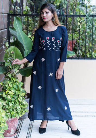 Blue Color Rayon Women's Long Flared Stitched Kurti - HOA101-BLUE