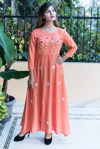 Peach Color Rayon Women's Long Flared Stitched Kurti - HOA101-PEACH