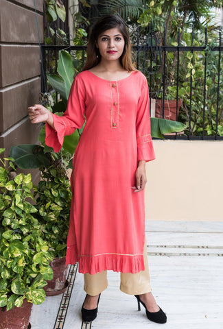 Peach Color Rayon Women's Stitched Kurti - HOA104_PEACH