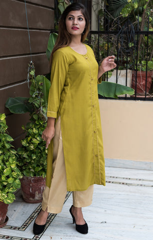 Mehendi Green Color Rayon Women's Stitched Kurti - HOA105_MEHNDIGREEN