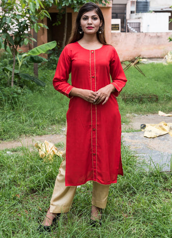 Red Color Rayon Women's Stitched Kurti - HOA105_RED
