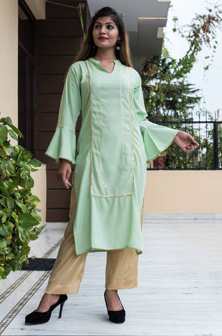 Green Color Rayon Women's Stitched Kurti - HOA106_GREEN