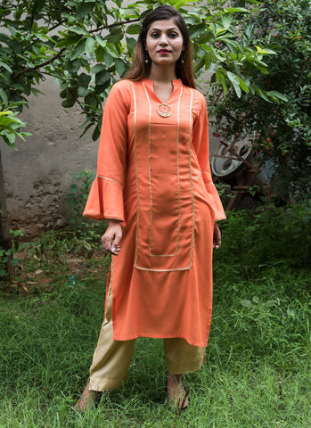 Peach Color Rayon Women's Stitched Kurti - HOA106_PEACH