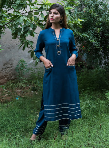 Blue Color Rayon Women's Stitched Kurti - HOA107_BLUE