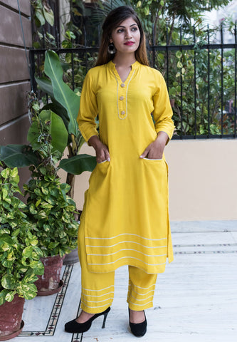 Yellow Color Rayon Women's Stitched Kurti - HOA107_YELLOW
