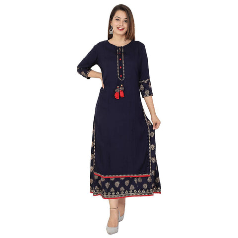 Blue Color Rayon Women's Stitched Kurti - HP-BLUE-DOUBLELAYER-KURTI