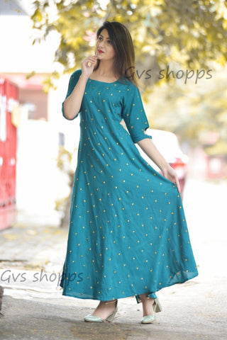 Navy Blue Color Rayon Women's Stitched Kurti - HP-NAVY-BLUE-KURTI