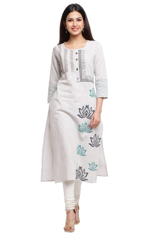 white Color Cotton Women's Stitched Kurti - HP-WHITE-ALINE-KURTI