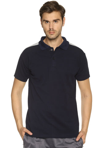 Navy Blue Color Cotton Sinker Men's Sports Tshirt - HPSBGT501