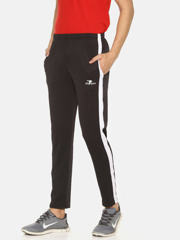 Black Color 4 Way Lycra Men's Track Pant - HPSBL41