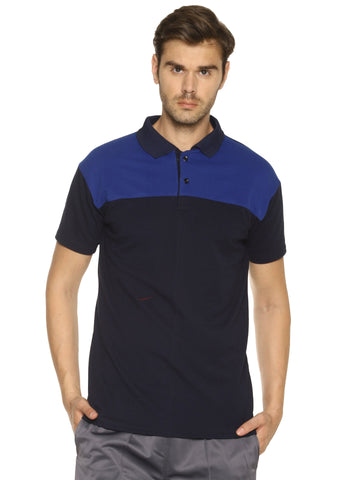 Navy Blue Color Cotton Sinker Men's Sports Tshirt - HPSBR502