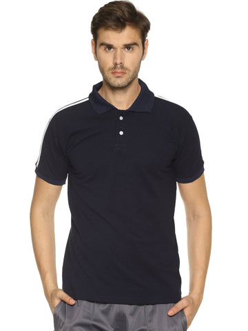 Navy Blue Color  Cotton- Matty Men's Sports Tshirt - HPSNT331