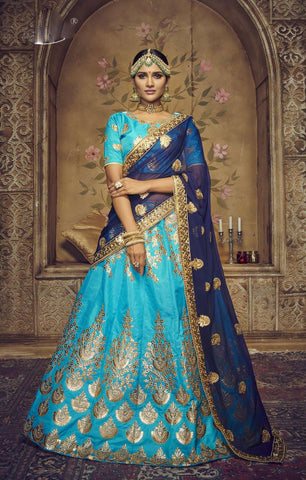Sky Blue Color Silk Semi Stitched Lehenga - HR-10001