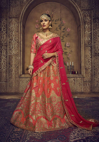 Orange Color Silk Semi Stitched Lehenga - HR-10002
