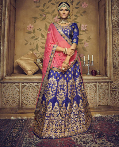 Blue Color Silk Semi Stitched Lehenga - HR-10003