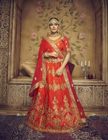 Dark Orange Color Silk Semi Stitched Lehenga - HR-10004