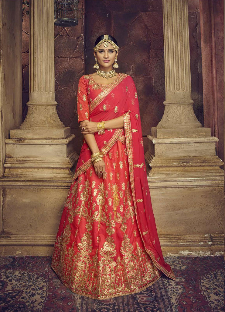 Buy Dark Peach Color Silk Semi Stitched Lehenga