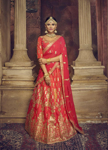 Dark Peach Color Silk Semi Stitched Lehenga - HR-10005