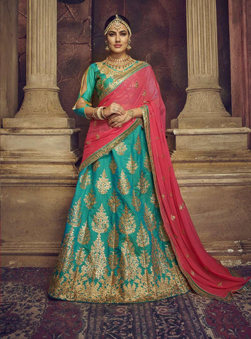 Sea Blue Color Silk Semi Stitched Lehenga - HR-10006