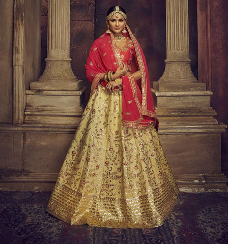 Beige Color Silk Semi Stitched Lehenga - HR-10007